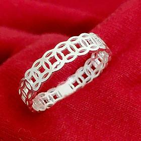 Nhẫn nữ kim tiền trơn không gắn đá chất liệu bạc ta đúc nguyên chiếc trang sức Bạc Quang Thản - QTBT76