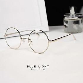 Kính Giả Cận, Gọng Kính Cận Nam Nữ Mắt Tròn Xoe Gọng Bạc Hàn Quốc - BLUE LIGHT SHOP