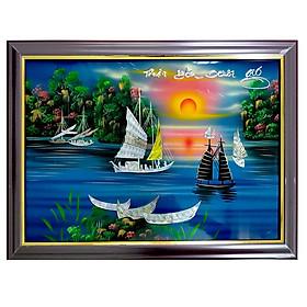Tranh sơn mài tranh phong thủy may mắn thuận buồm xuôi gió SM00007 60x40cm