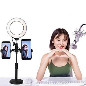 Giá Đỡ 2 Điện Thoại Livestream Có Đèn Led, Kẹp Điện Thoại Để Bàn Quay Video Tiktok Có Đèn Led 3 Màu
