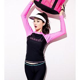 Set Đồ Bơi Ba Chi Tiết Đồ Bơi Nữ Tay Dài Quần Dài Màu Hồng Đen Chủ Đạo AT205 MayHomes Black-Pink Colored Long Sleeves And Long Pants Women Swimwear Set, UPF 50 Sun Protection