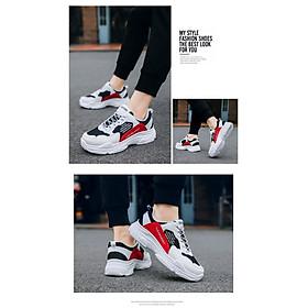 Giày Nam Thể Thao Sneaker Trắng Vải Dệt Đế Cao Su Nguyên Khối Siêu Êm Chân Phối Đen Đỏ Cực Chất Phong Cách Hàn Quốc (Hình thật) CTS-GN052-9