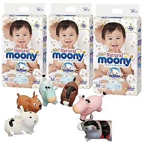 Combo 3 gói tã quần Moony Natural cao cấp size M46 tặng thú nhún Toys House