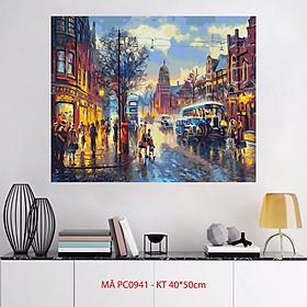 Tranh tô màu theo số sơn dầu số hóa Tranh phong cảnh đường phố góc phố cổ Châu Âu PC0941