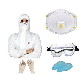 Combo 1 bộ đầy đủ chống virus, chống hóa chất gồm: khẩu trang 3M N95 8511, quần áo bảo hộ 3M 4545, kính chống hóa chất 3M 40660 tặng 1 đôi trùm giày và găng tay