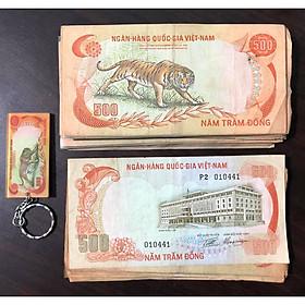 01 tờ con cọp 500 đồng, tiền cổ Việt Nam sưu tầm, kèm 01 móc khóa tờ tiền đó