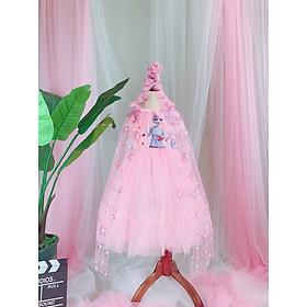 Váy công chúa Elsa kèm choàng mũ bé gái 2-10 tuổi