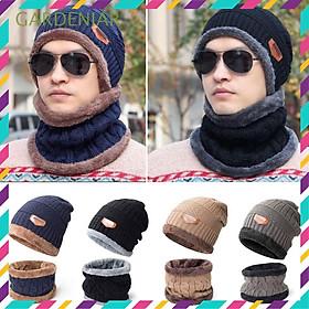 Mũ len trùm đầu kèm khăn ống choàng cổ ấm áp cho nam nữ