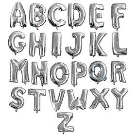 Bong bóng chữ cái màu bạc 35 cm (chọn chữ A - Z)