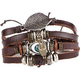 Vintage Style Multilayer PU Leather Braided Bracelet Jewelry Men Women
