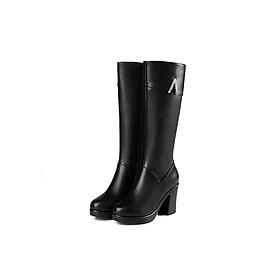 Giày Boot nữ cổ cao đế vuông B106