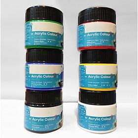 6 Màu Acrylic 3D 100ml Sơn Acrylic 3D chống nước vẽ vải, lụa, giày, dép, gốm sứ, nhựa