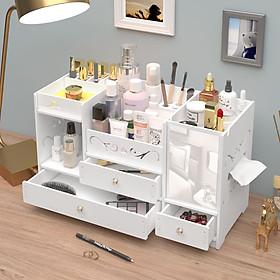 Kệ đựng mỹ phẩm, để đồ trang điểm, đồ trang sức, kệ gỗ để bàn kèm gương trang điểm cao cấp - Tặng kèm móc khóa khung hình thời trang