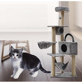 Trụ mèo / Cat tree 4 tầng nhiều bộ phận - Nhà cho mèo chơi đa chức năng Hanpet (giao màu ngẫu nhiên)