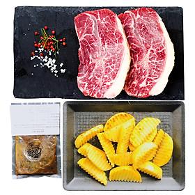 [Chỉ Giao HCM] - Combo Thịt Lõi Vai Angus Áp Chảo, Sốt Tiêu Đen và Ướp Steak (Family steak box) 600g