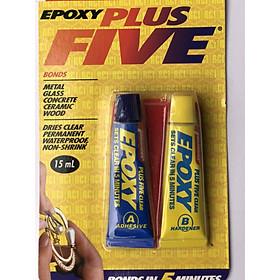 Keo dán A và B trong suốt Epoxy Plus Five (15ml) dán thủy tinh, nhựa, gỗ