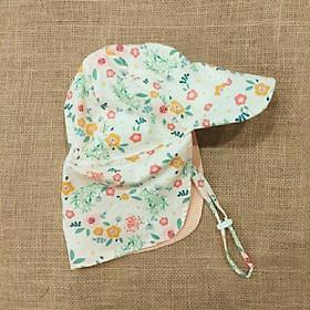 Mũ che gáy chống nắng cho bé gái từ 0 - 12 tuổi mẫu hoa nền cam vàng cam nhạt đi biển dã ngoại-0