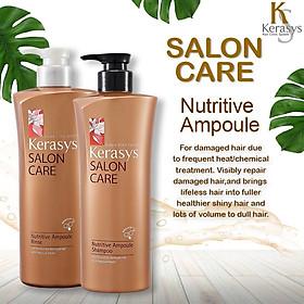 Bộ dầu gội xả Kerasys Salon Care Nutritive - Dành cho tóc hư tổn Hàn Quốc 600ml tặng kèm móc khoá-1