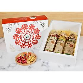 Hộp quà tặng trà hoa cao cấp - Set 17: Trà hoa hồng, Cúc vàng to, Hoa quả bali