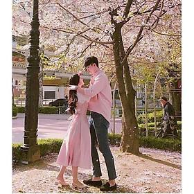 Đồ đôi nam nữ Hàn Quốc Set váy nữ sơ mi nam cặp thời trang thu đông đẹp màu hồng AV178