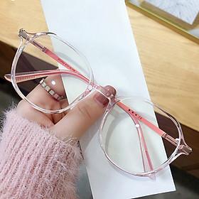 Gọng kính cận nữ - nam mắt tròn màu đen, hồng, tím, xanh chất liệu nhựa/kim loại SA2503.  Tròng kính giả cận 0 độ