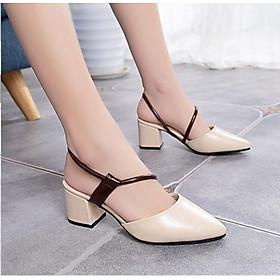 Giày cao gót nữ thời trang đế vuông cao cấp 5 phân dây nâu chéo Phong Cách Hàn Quốc YUUPN17.
