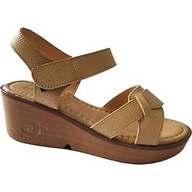 Giày Sandal Nữ Đế Xuồng BIGGBEN Da Bò Thật SDX14