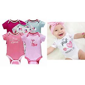 3 bộ BODY tam giác bé gái(0-12thang)_tặng kèm 1 nón baby