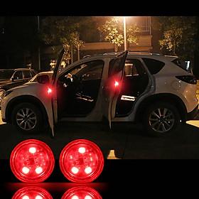 Bộ 4 đèn led cảnh báo mở cửa ô tô + Tặng 1 tem cờ kim loại Tôi Yêu Việt Nam