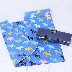 Bộ Nệm Ngủ Cho Bé ( Nệm, Mền, Gối) Vải Cotton Satin Họa Tiết Con Ngựa