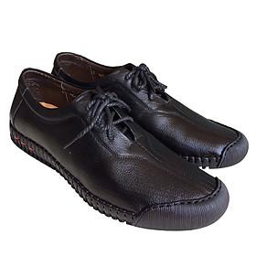 Giày mọi nam cột dây Trường Hải màu đen bò da bò thật cao cấp không bong tróc đế cao su chống mòn không trơn GMTH01276