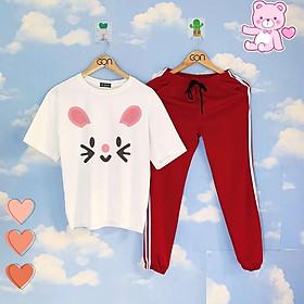 Set áo tay lửng quần thun RED unisex, quần dài 2 sọc, 3 sọc, Áo tay lỡ và quần thể thao