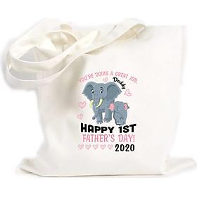 Túi Vải Đeo Vai Tote Bag In họa tiết Bạn đang làm công việc tuyệt vời, chúc mừng ngày của bố