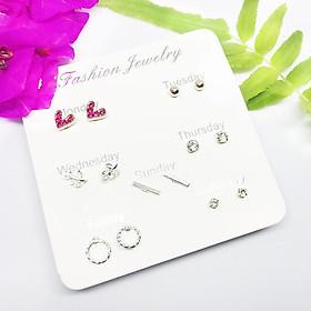 Bông tai khuyên tai hoa tai nữ thời trang set 7 đôi