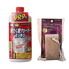 Combo nước tẩy vệ sinh lồng máy giặt + đá chà gót chân nội địa Nhật Bản