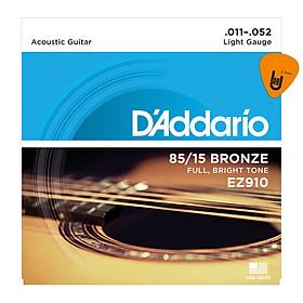 D'Addario EZ910 - Bộ Dây Đàn Guitar Acoustic Cỡ 11 (.011-.052) Chính Hãng (85/15 Bronze Strings Ghi-ta) - Kèm Móng Gảy DreamMaker