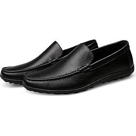 Giày lười da bò nam, giày da nam họa tiết trơn, giày lười hè, hàng gia công trong nước, đế cao su nguyên khối đi êm, chắc chắn GD08a