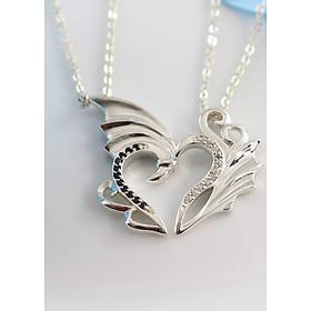 Dây chuyền đôi bạc dây chuyền cặp bạc trái tim ghép DCD0011