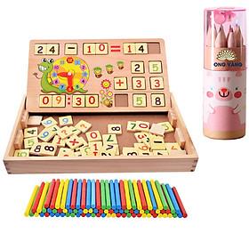 Đồ chơi gỗ, đồ chơi giáo dục sớm, giáo cụ MONTESSORI lắp ghép phép tính cho bé học tính - Tặng bộ bút chì màu gỗ 12 chiếc cho bé