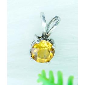 Mặt dây chuyền đá citrine thạch anh vàng tự nhiên kiểu tròn MC14