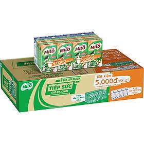 Thùng Sữa Lúa Mạch Nestlé MILO + Sữa Nước Có Đường Nestlé - Lốc 12 Tiện Lợi 4 (12 x 115ml)
