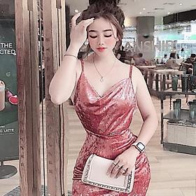 Đầm váy 2 dây cổ đổ sang chảnh