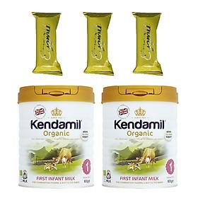 Combo 2 hộp Sữa bột Nguyên kem công thức hữu cơ KENDAMIL ORGANNIC số 1: ORGANIC FIRST INFANT MILK (800G) ( cho trẻ từ 0-6 tháng tuổi) - Phát triển chiều cao và trí não, tăng cân, tăng sức đề kháng – Tặng 3 bánh quế cuộn hiệu Kapad
