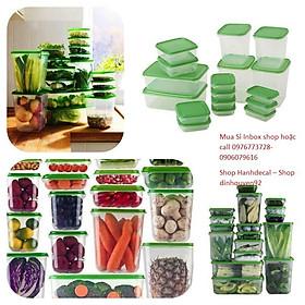Bộ hộp nhựa 17 món đựng thức ăn, hộp nhựa đựng thức ăn chất lượng cao, hộp nhựa dùng được trong lò vi sóng