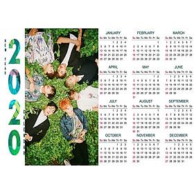 Lịch tường 2020 nhóm nhạc BTS idol kpop size A3 trang trí in hình nhóm nhạc Hàn Quốc tặng thẻ Vcone