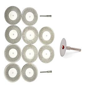 đĩa cắt min phủ kim cương chân cán 2.35mm (10 đĩa + 2 trục) tặng kèm 1 đĩa cắt răng cắt nhựa và cắt gỗ