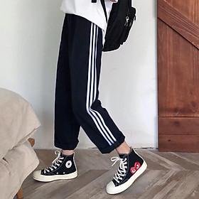 Quần dài thể thao 3 sọc chất Poly đồ bộ mặc nhà form freesize dáng rộng màu đen