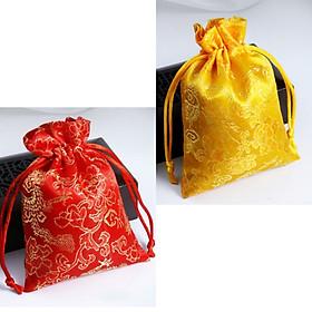 bộ 2 túi gấm rông phượng với 2 màu đỏ vàng bắt mắt, thích hợp để đựng trang sức, đồng xu - PCCB MINGT