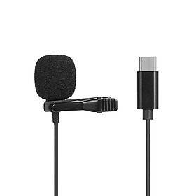 JH-042 Type-C Lavalier Microphone Omni Directional Condenser Microphone Superb Sound for Audio and Video Recording Black