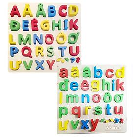 Combo 2 bảng chữ in thường và in hoa tiếng việt cho bé hàng Vivitoys